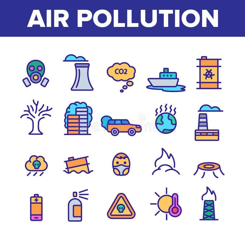 Environmental Air Pollution Linear Icons Vector Set vector illustration