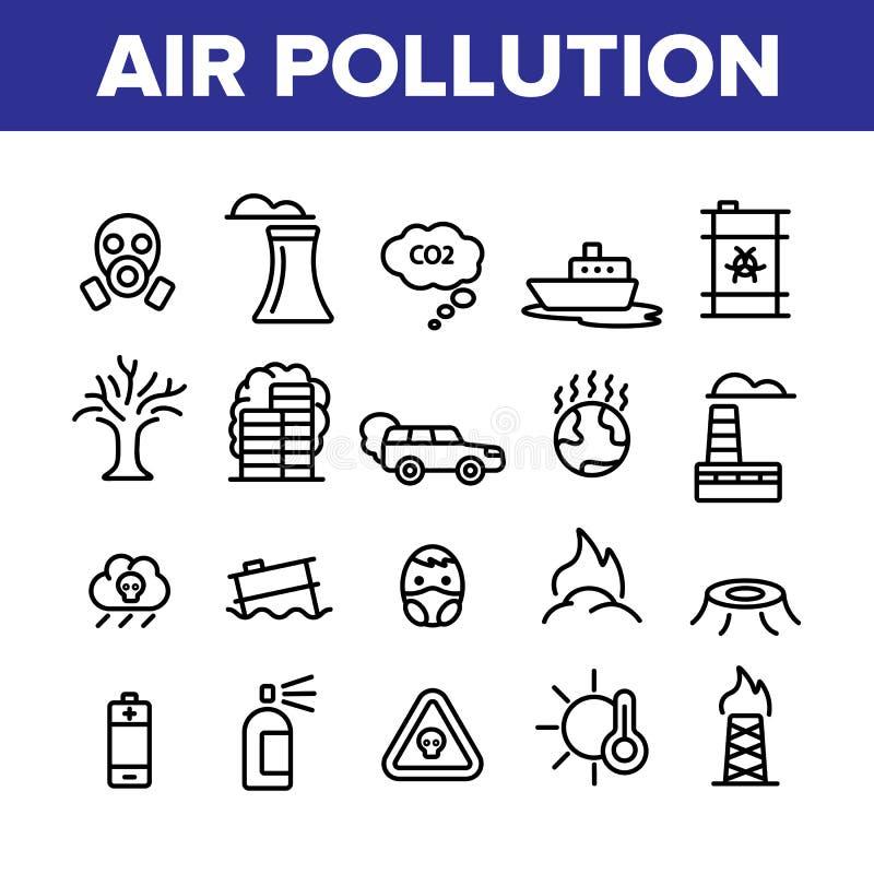 Environmental Air Pollution Linear Icons Vector Set royalty free illustration