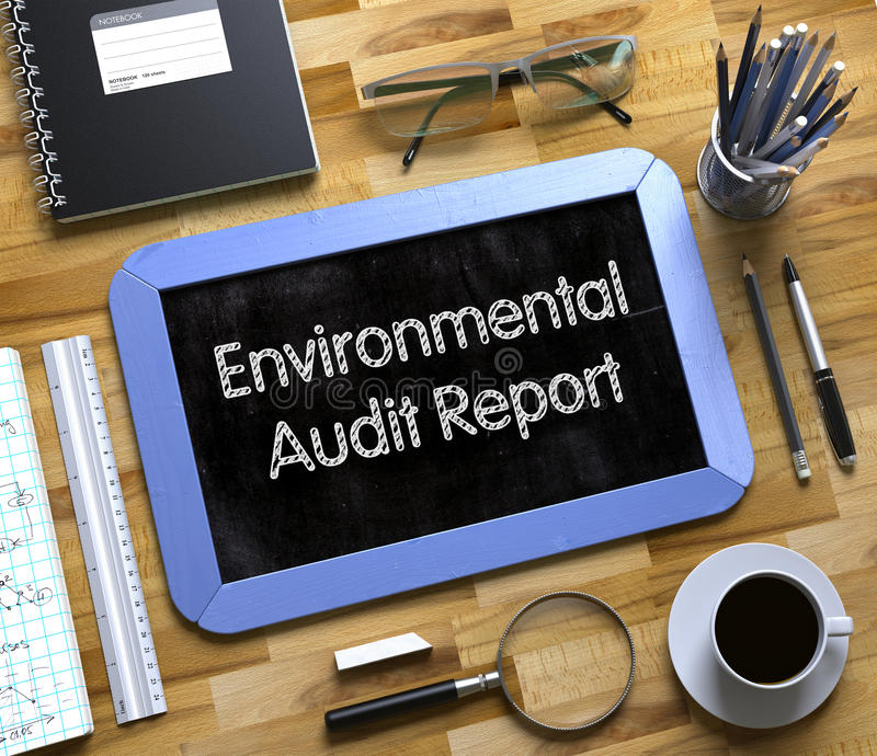Environmental Audit Report Concept on Small Chalkboard. 3D. stock image