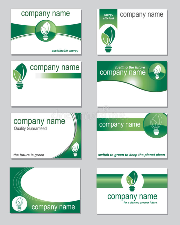Environmental business cards. Selection of business cards on an environmental theme vector illustration