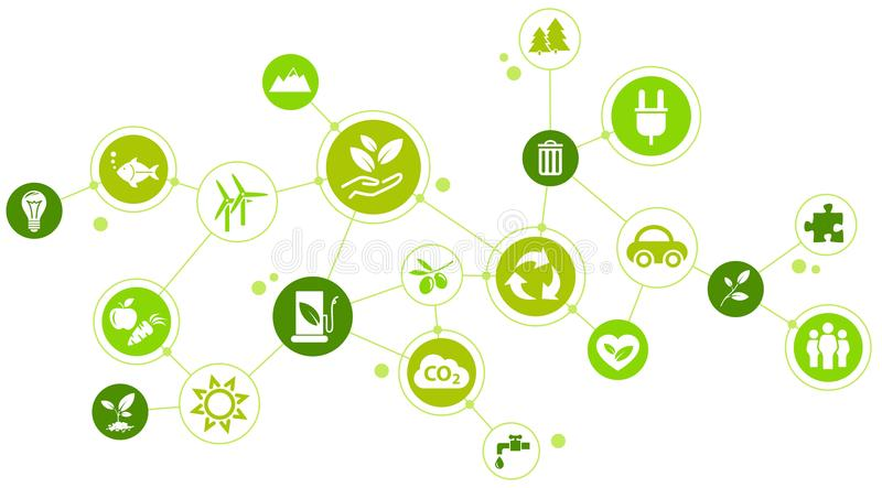 Environmental challenges / green company design. Illustration with various icons highlighting different aspects of environmental consciousness, like recycling royalty free illustration