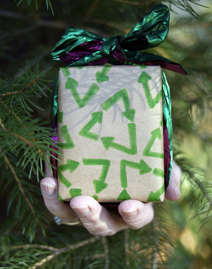 Environmental christmas gift. People recycling at holidays concept: hand holding Christmas gift wrapped in recycled paper with pine tree stock images