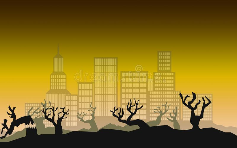 Environmental concept of deforestation for real estate vector illustration