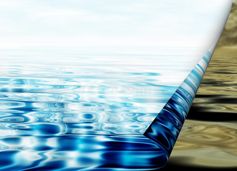 Environmental concept, water protection. Clean and polluted water stock illustration