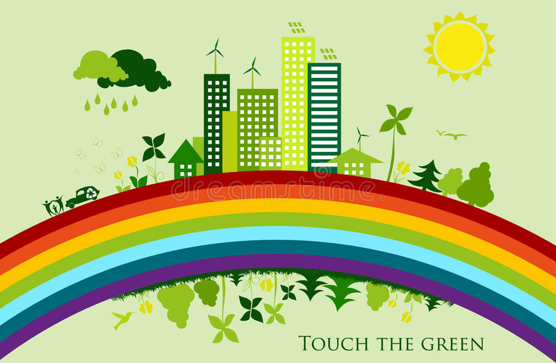 Environmental conservation cities. Green City royalty free illustration