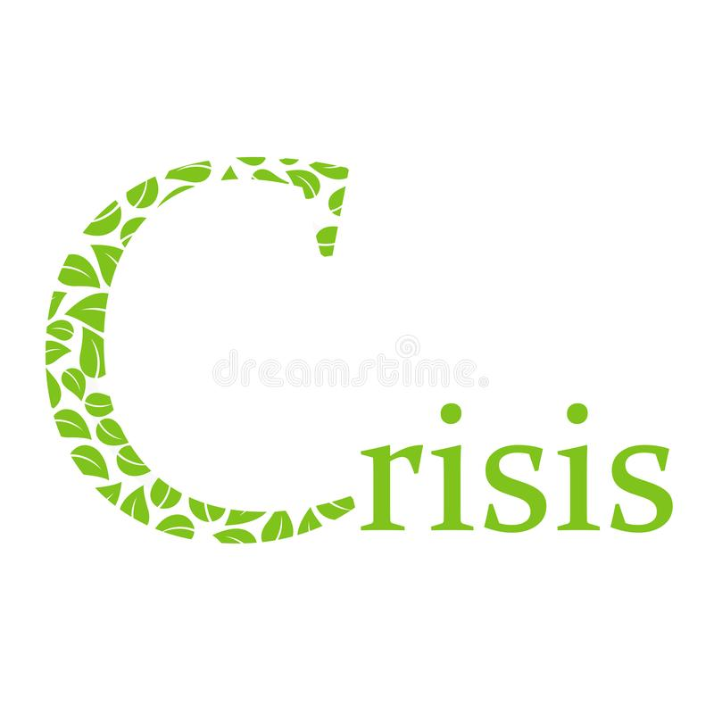 Environmental crisis and capital C. Environmental crisis text with leaves vector illustration