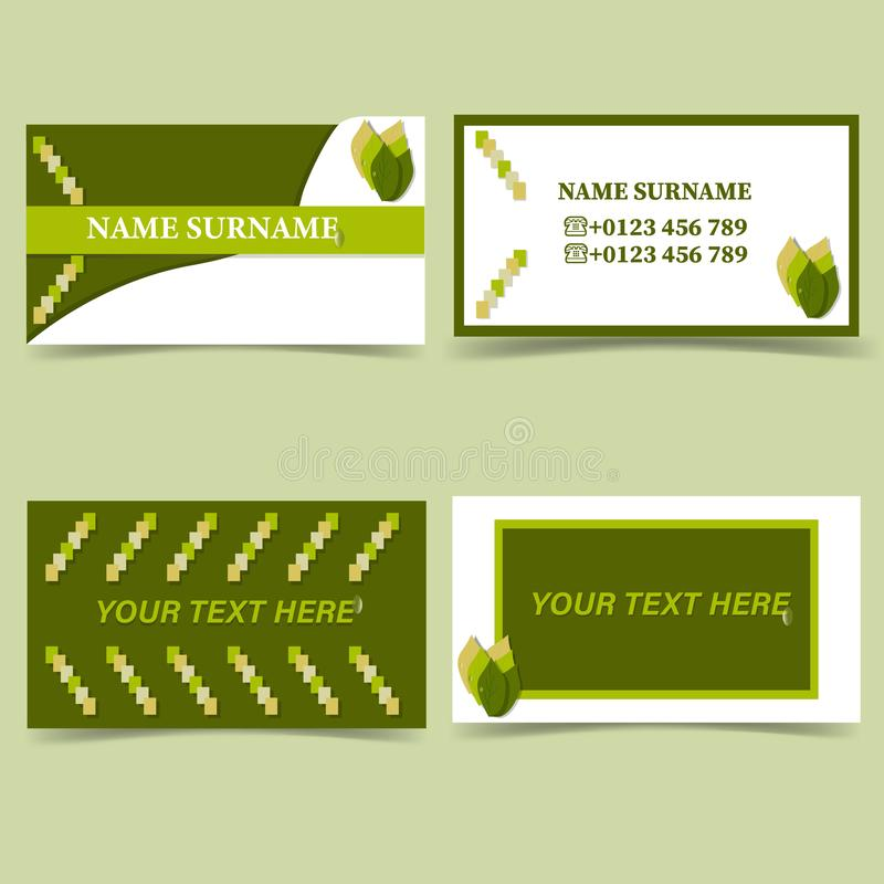 Environmental direction business card template, nature white green color stock illustration