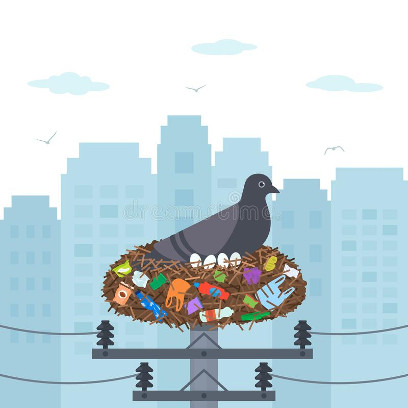 Environmental disaster plastic waste in the city. mother pigeon hatches eggs in a nest full of garbage and household stock illustration