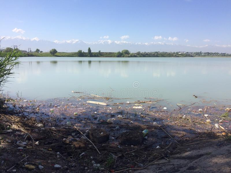 Environmental disaster. The pollution of the lake, the pond. The accumulation of plastic bottles in the water. Eco. stock image