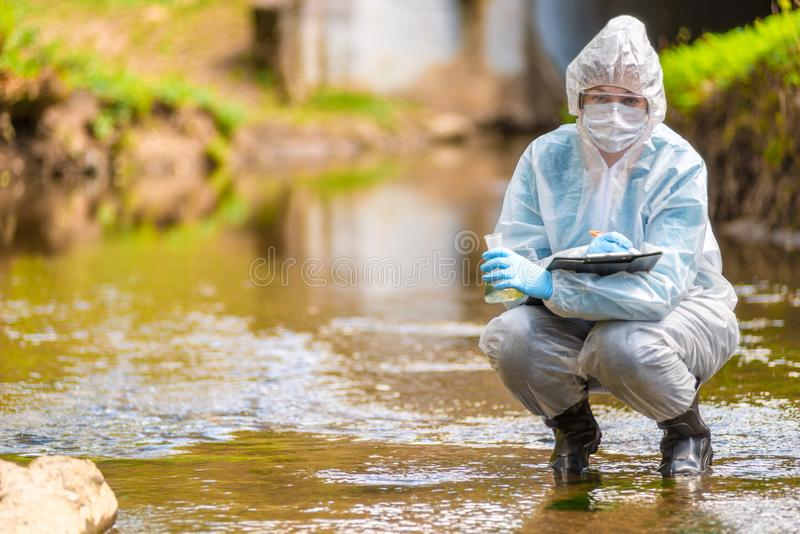 Environmental disaster, the profession of an ecologist scientist portrait. While working royalty free stock photos