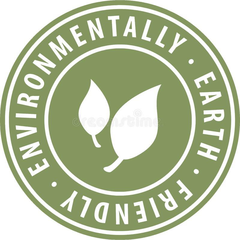 Free Environmental Earth Friendly Round Green Icon Symbol Badge With Leaf. Label Sign For Website For Renewable And Sustainable Product Stock Images - 181099744