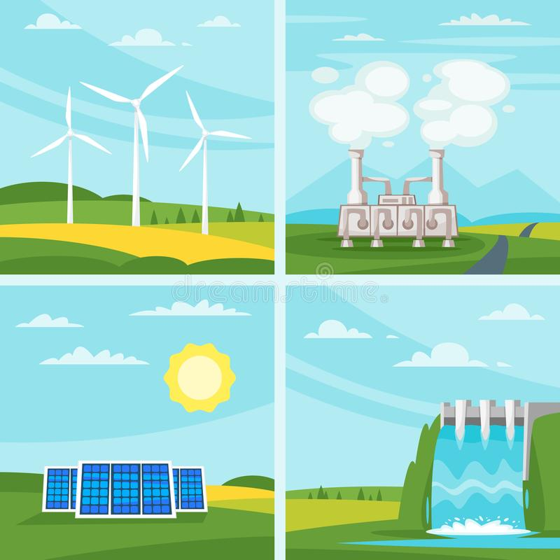 Environmental and ecology concept illustrations stock illustration