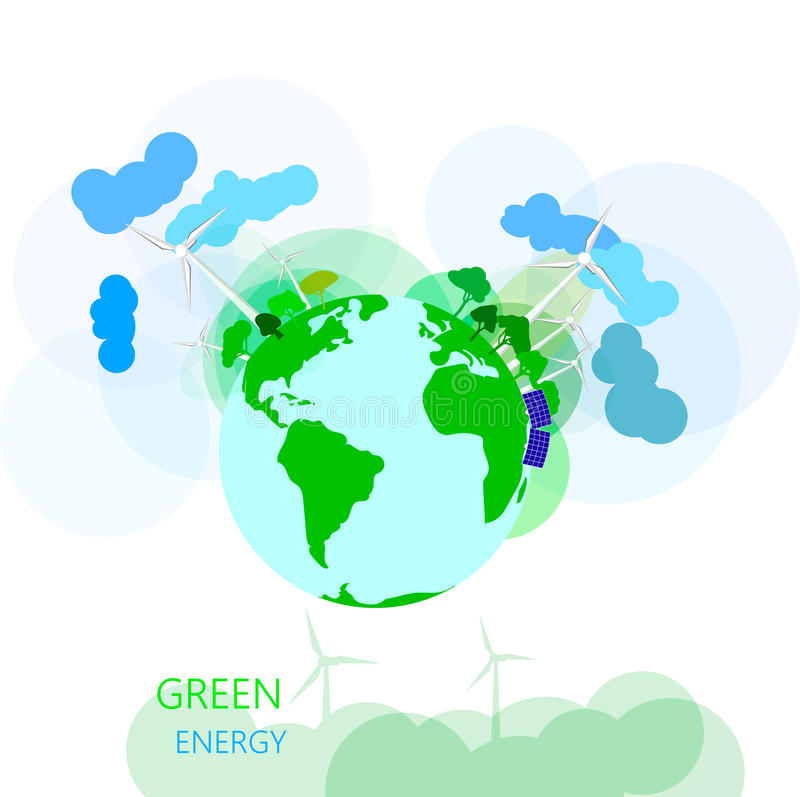Environmental And Ecology Concept. Vector Green Earth With Wire ...