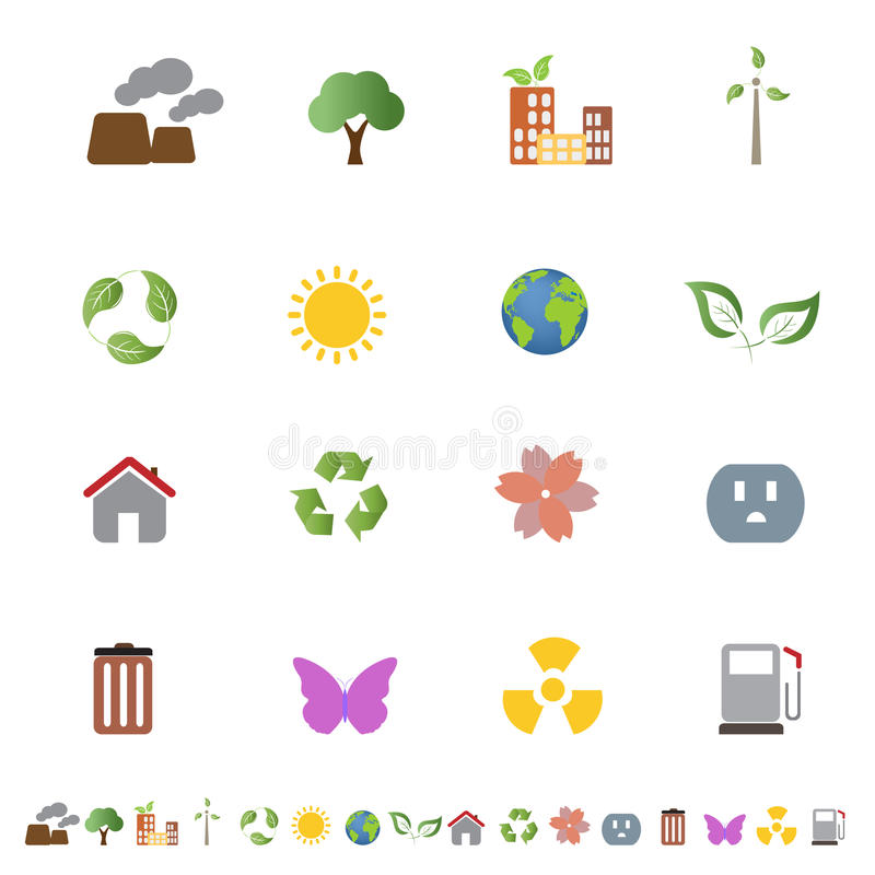 Environmental ecology icon set. Environment related clean energy and ecology icon set stock illustration