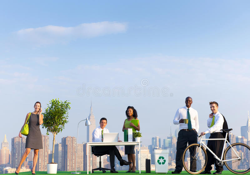 Environmental Friendly Office Workers In New York stock images