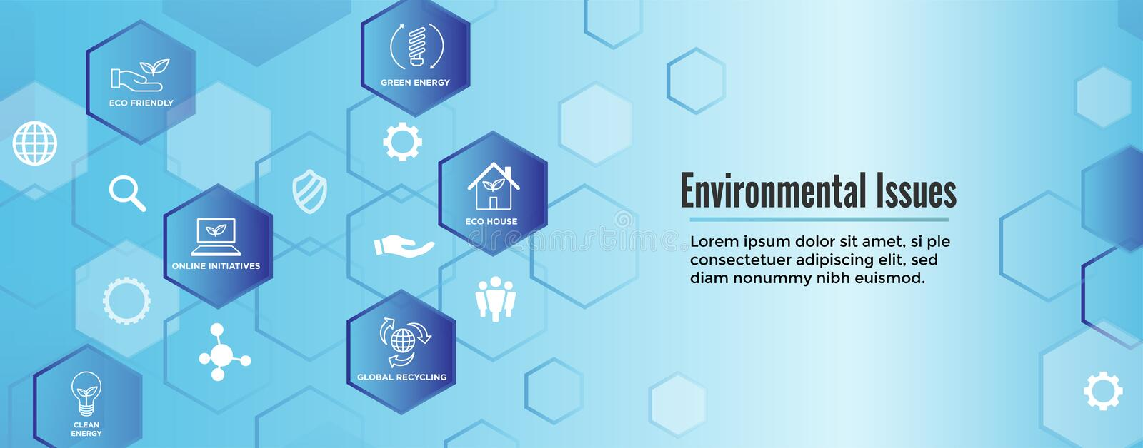 Environmental issues header web banner - recycling, etc icon set vector illustration