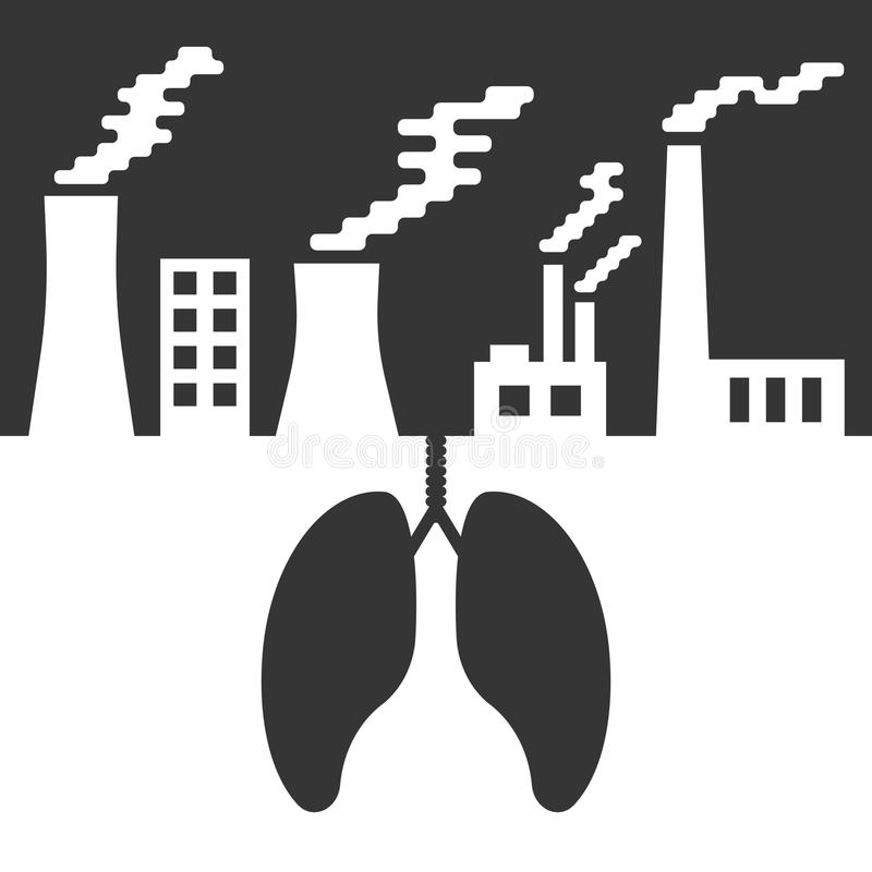 Environmental issues with lungs and air pollution vector illustration