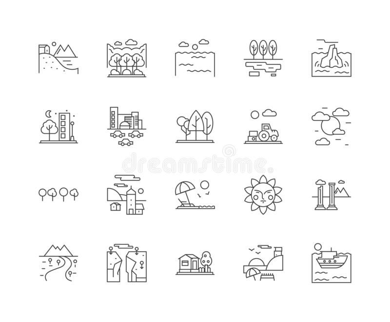 Environmental line icons, signs, vector set, outline illustration concept royalty free illustration