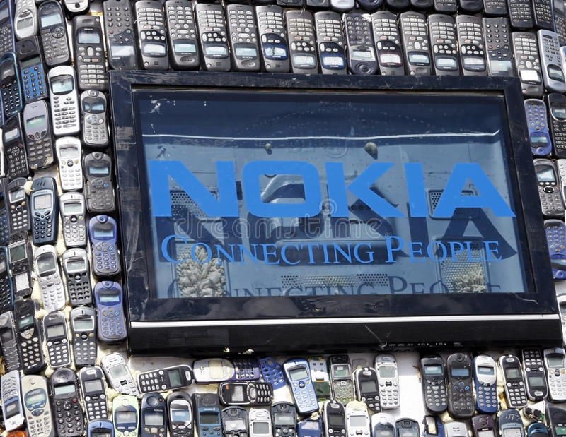 Environmental Nokia. This image represents one of the sculpture presented at the Planet Report, an environmental and film festival. The festival takes place stock images