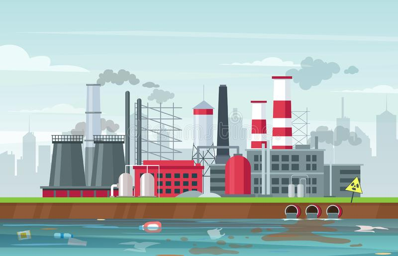 Environmental pollution concept in flat style, vector illustration royalty free stock photo