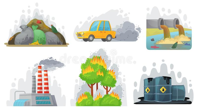 Environmental pollution. Contaminated air, industrial radioactive waste and ecological awareness vector illustration set stock illustration