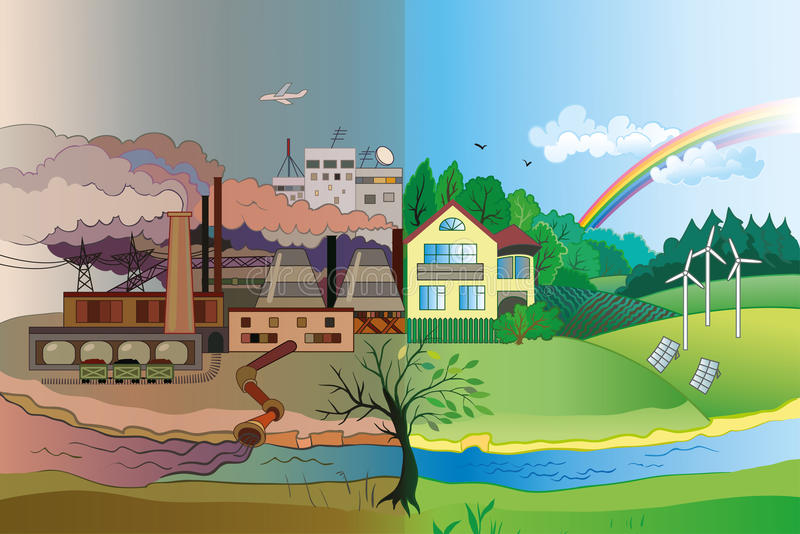 Environmental pollution and environment protection. Ecology Concept Vector: urban and village landscape. Environmental pollution and environment protection royalty free illustration