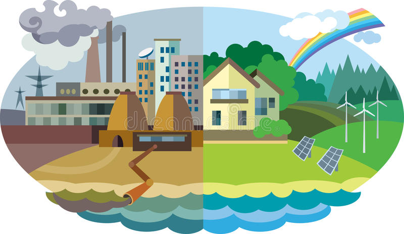 Environmental pollution and environment protection. Flat design vector concept illustration: urban and village landscape. Environmental pollution and environment royalty free illustration