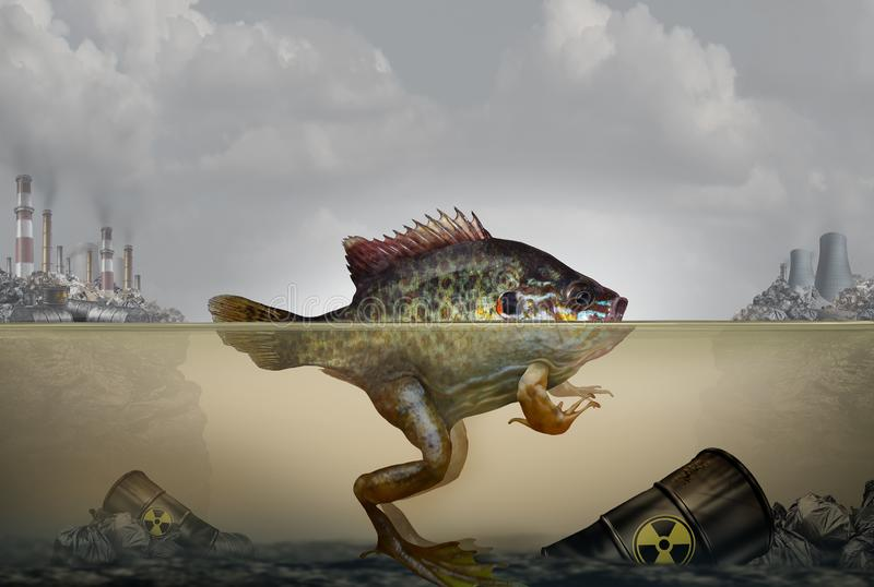 Environmental pollution genetic mutation and heritable DNA damage caused by a polluted environment with industrial waste in air. And water as a hybrid fish and royalty free illustration