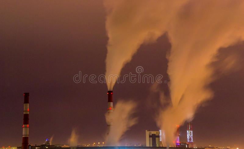 Environmental pollution the night stock photography