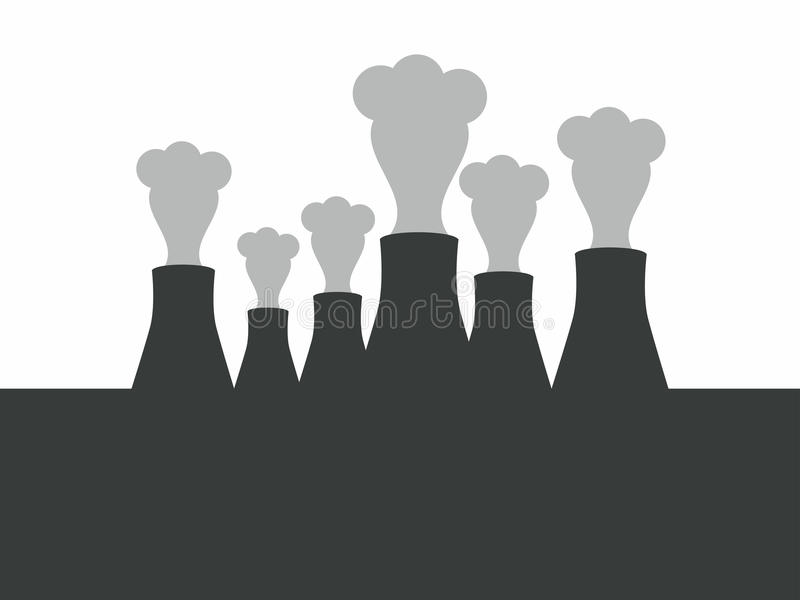 Environmental pollution. Pipes with smoke. Vector vector illustration