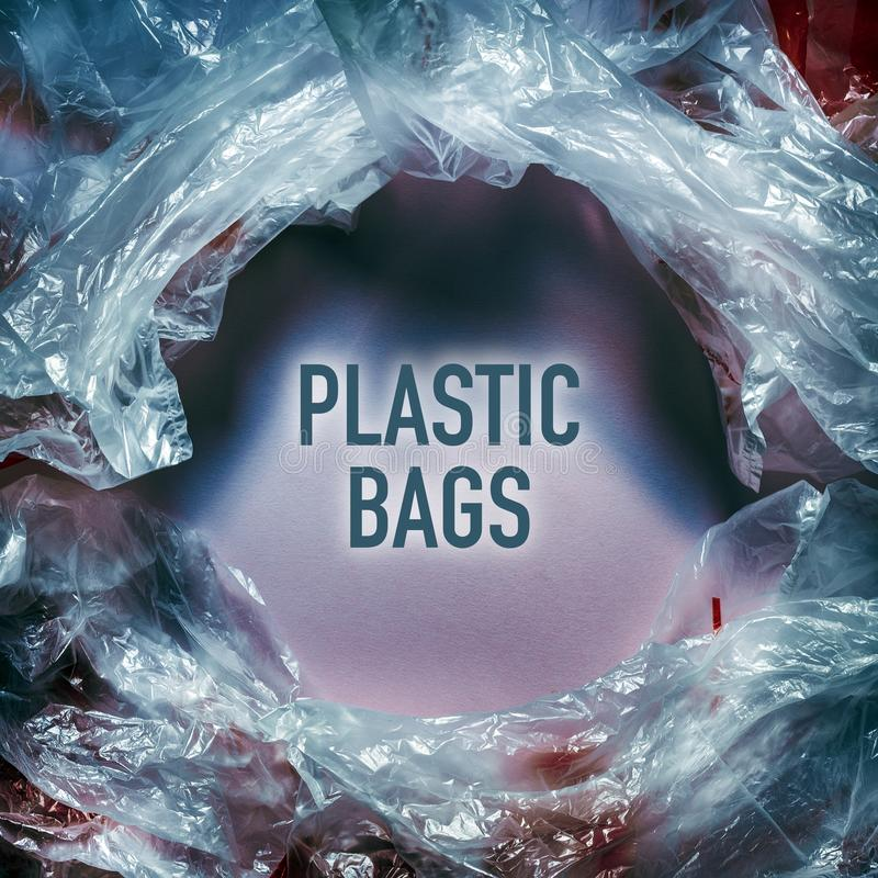 Environmental pollution by plastic bags World Environment Day concept. Human intervention in nature. Natural materials. Concept royalty free stock photography