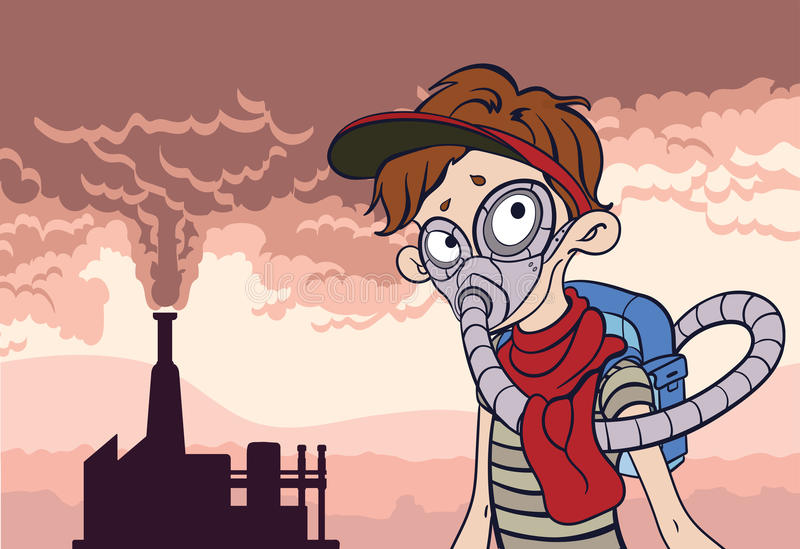 Environmental pollution poster. Smoke from a factory chimney and man in the gas mask. Post-apocalyptic landscape. Vector royalty free illustration