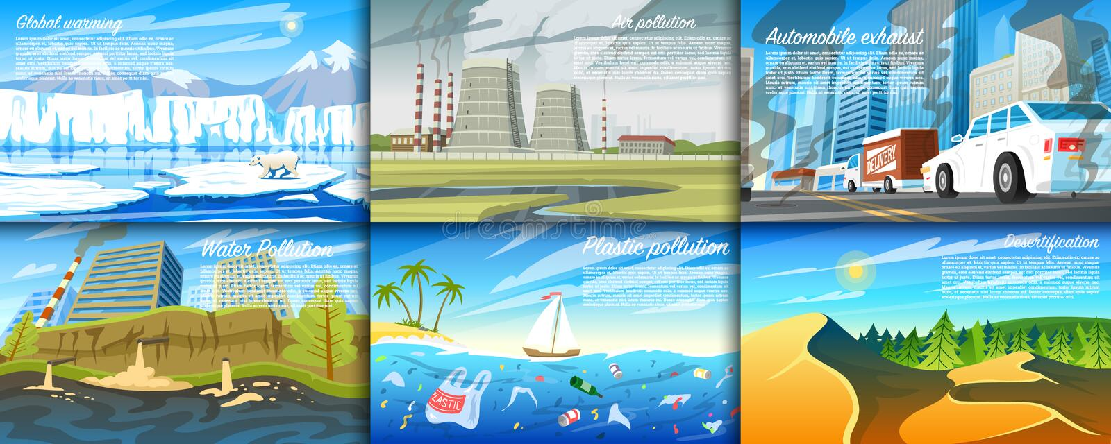 Environmental pollution. Set of radioactive industry. Ecological problems Deforestation, global warming, oil spill royalty free illustration