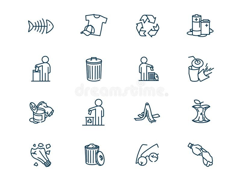 Environmental pollution vector linear icons set royalty free illustration