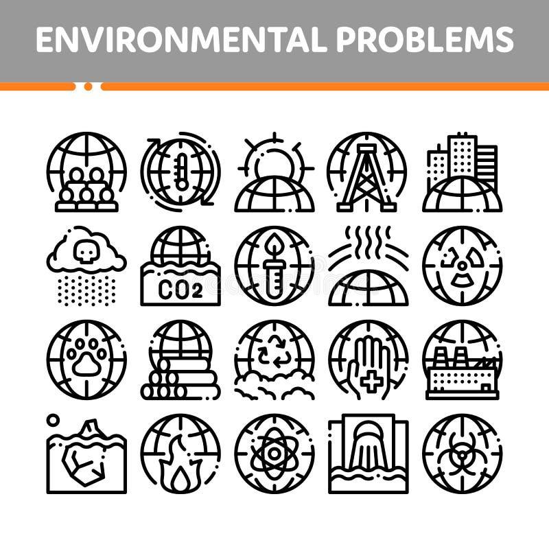 Environmental Problems Vector Thin Line Icons Set stock illustration