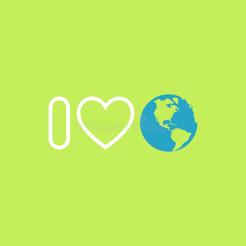 Environmental protection concept. I love Earth. Earth day poster. Vector royalty free illustration
