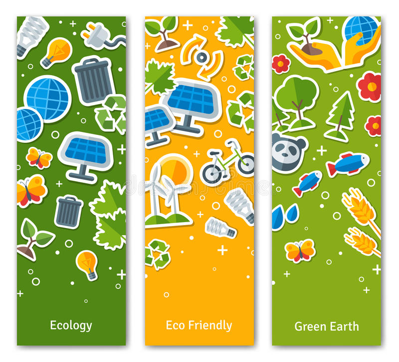 Environmental Protection, Ecology Concept Vertical. Banners Set in Flat Style. Vector illustration. Ecology Stickers Symbols. Green Energy, Save Planet Concept vector illustration