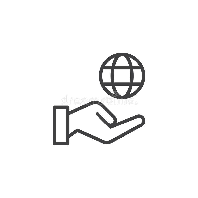 Environmental protection outline icon. Linear style sign for mobile concept and web design. Hand hold globe simple line vector icon. Symbol, logo illustration vector illustration