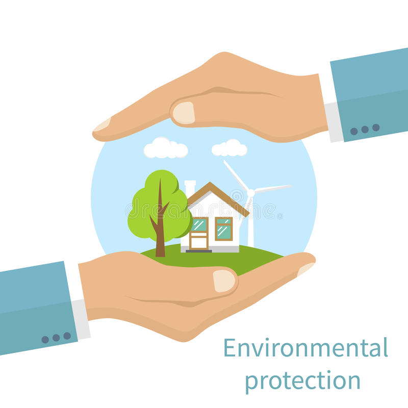 Environmental protection vector. Environmental protection. Hands holding eco-friendly earth with house, tree and windmill. Protection ecology, concept. Vector vector illustration