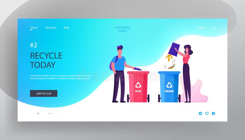 Environmental Protection Website Landing Page. People Throw Garbage to Recycle Litter Bins for Glass and Organic Waste. Sort Recycle and Segregation Web Page vector illustration