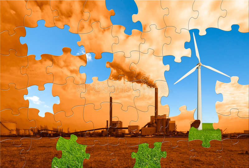 Environmental puzzle. The puzzle to make this world a greener place to live royalty free stock photography