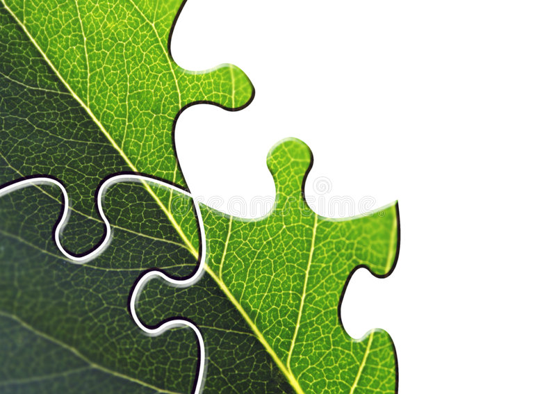 Environmental puzzle. Jigsaw puzzle shapes of leaf on white stock photo