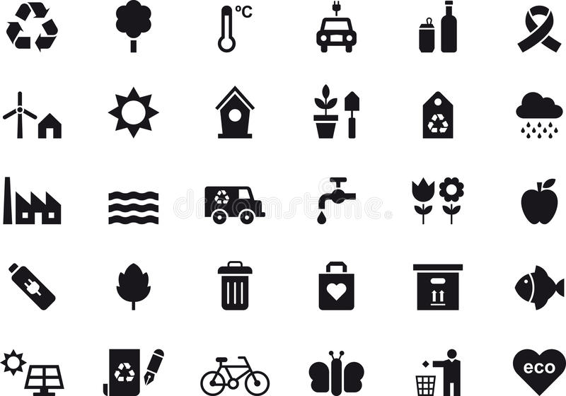 Environmental and recycling icon set royalty free illustration