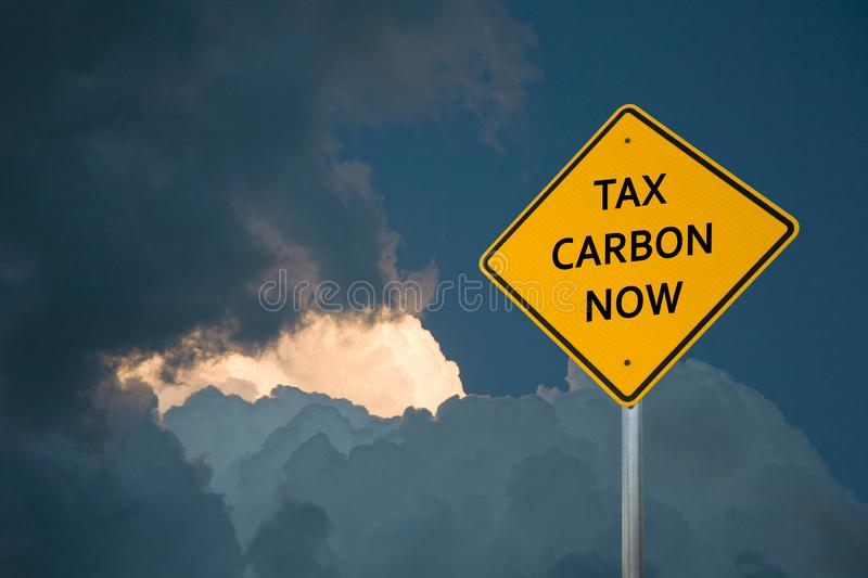 Environmental Sign Post On A Yellow Diamond-Shaped Sign stock photography
