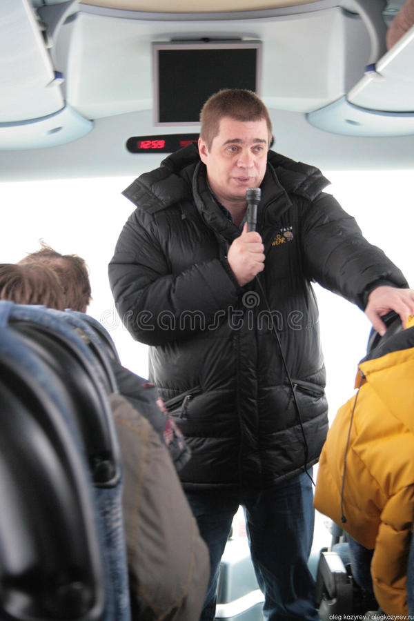 Environmentalist from Greenpeace Alexei Yaroshenko tells journalists about how important the Khimki forest. Khimki, Moscow region, Russia - February 3, 2011 stock images