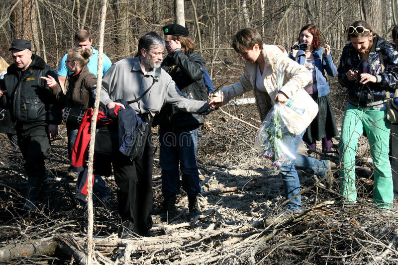 Environmentalist Yevgenia Chirikova together with the defenders of Khimki forest goes to the place of cutting. Khimki, Moscow region, Russia - April 23, 2011 royalty free stock photography