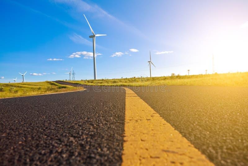 Environmentally friendly power generation wind power turbines stock image