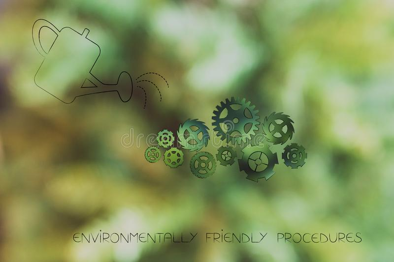 Watering can and gearwheels going green, ecology concept. Environmentally friendly procedures conceptual illustration: watering can and gearwheels going green royalty free stock image