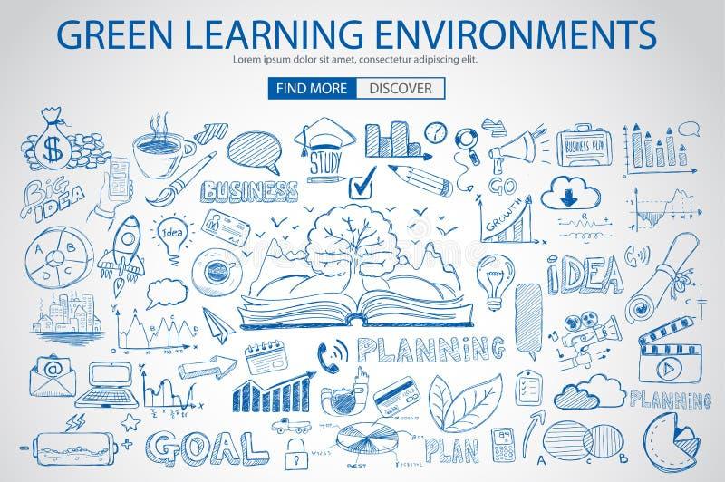 Environnement d'étude vert avec le style de conception de griffonnage illustration de vecteur