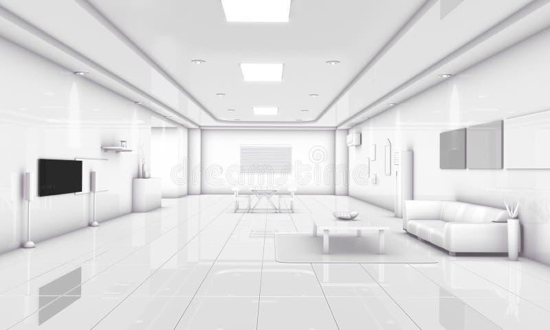 environnement familial moderne de mode simple de l'illustration 3D images libres de droits